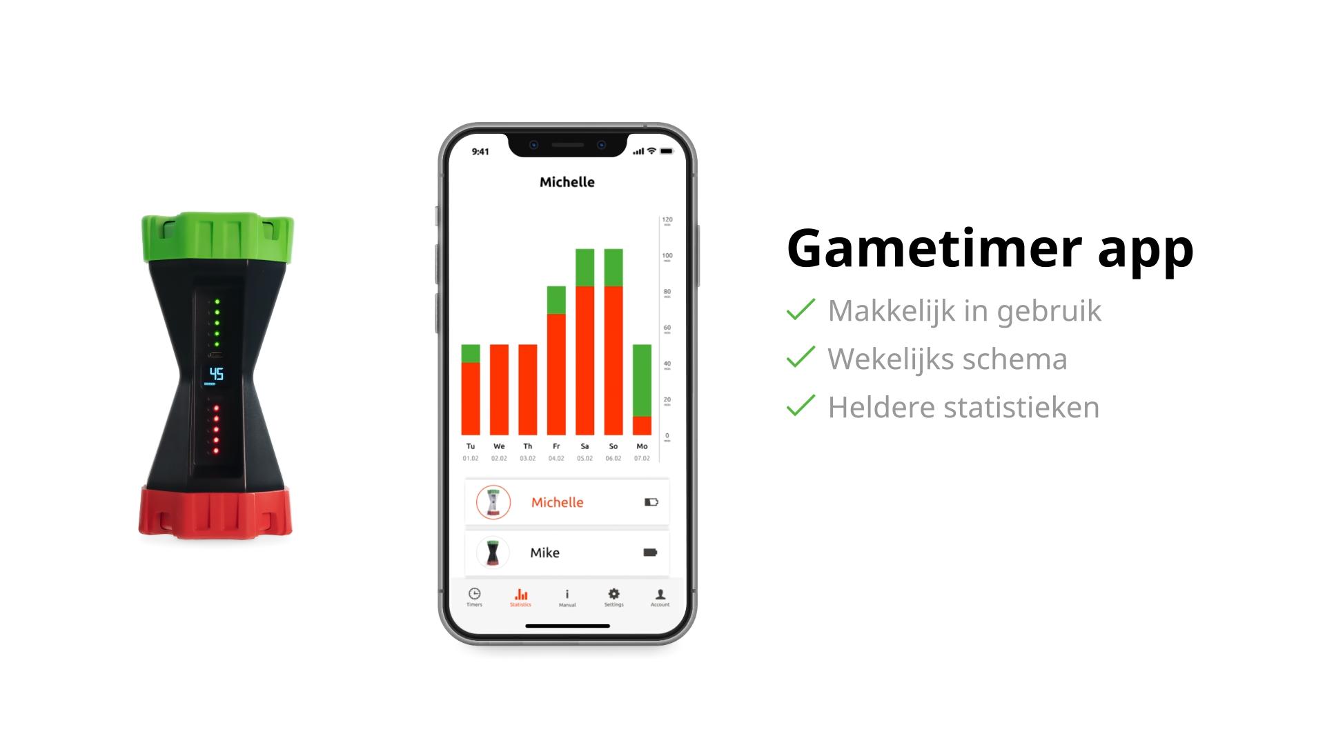 Gametimer app scherm